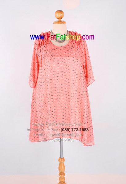 f015-45-50-เสื้อผ้าคนอ้วนXXL ผ้าซีฟองสีส้มพิมพ์ลาย ซับในทั้งตัว แต่งระบายช่วงไหล่ ทรงปล่อยๆใส่สบายๆค่ะ รอบอก 48 นิ้ว