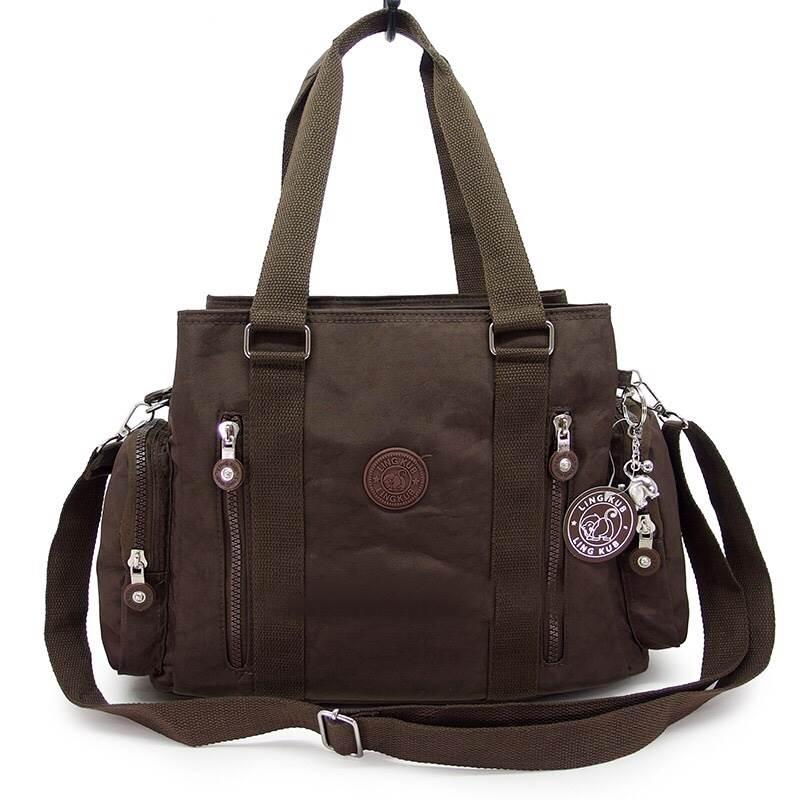 กระเป๋าถือ + สะพายไหล่ สีน้ำตาล