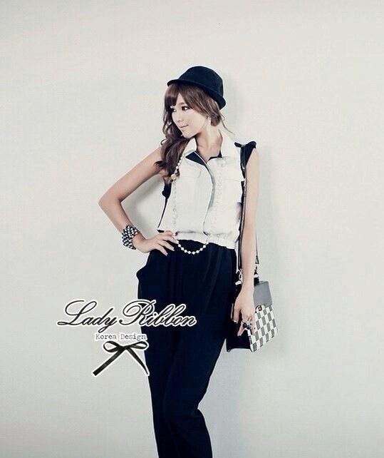 Lady Ribbon Black&White Jumpsuit คอเสื้อทรงปกเชิ้ต ตัดต่อกางเกงขายาว