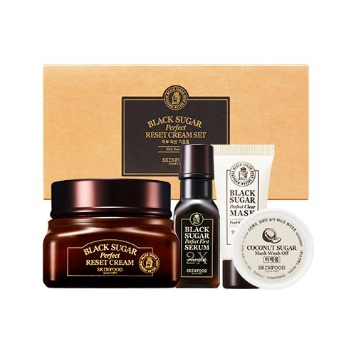 (Pre-order) Skinfood Black Sugar Perfect Reset Cream Set 4 Items เซทบำรุงผิว สารสกัดจากน้ำตาลดำ