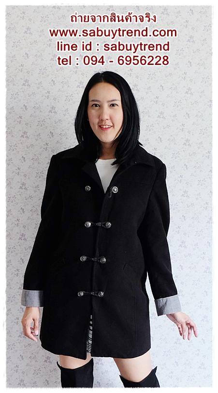 ((ขายแล้วครับ))((คุณChitapornจองครับ))ca-2683 เสื้อโค้ทกันหนาวผ้าวูลสีดำ รอบอก42
