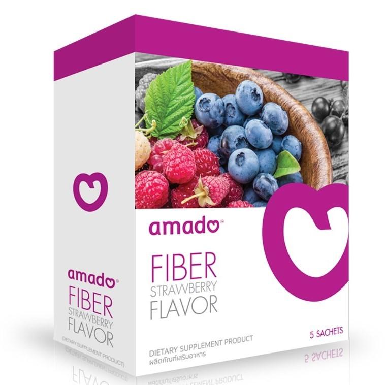 Amado Fiber Strawberry Flavor อมาโด้ ไฟเบอร์ ดีท็อกซ์ พุงยุบ ลดน้ำหนัก กลิ่นสตรอเบอร์รี่ กล่องม่วง