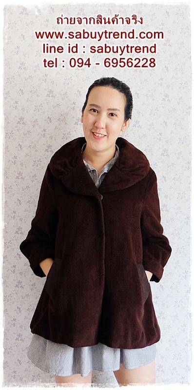 ((ขายแล้วครับ))((จองแล้วครับ)) ca-2708 เสื้อโค้ทกันหนาวผ้าวูลสีน้ำตาล รอบอก44
