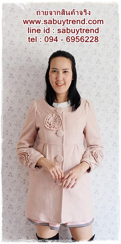 ((ขายแล้วครับ))((จองแล้วครับ))ca-2696 เสื้อโค้ทกันหนาวผ้าวูลสีชมพูหม่น รอบอก34