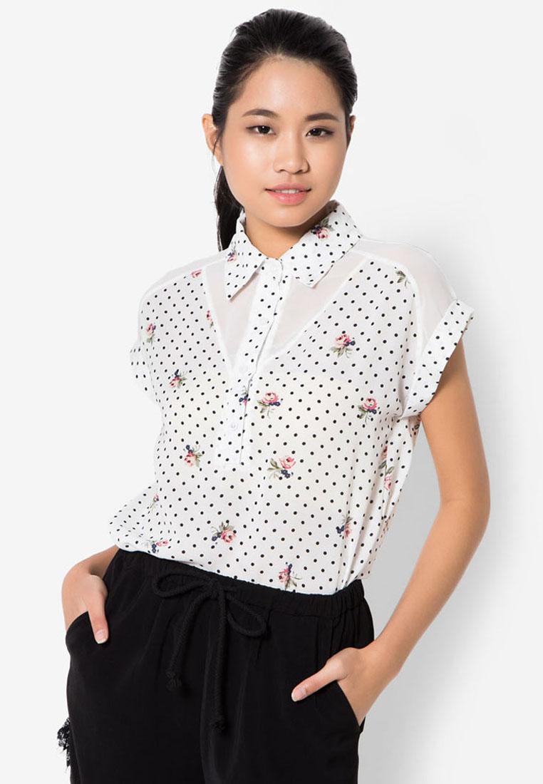เสื้อเบลาส์ Polka Dot And Floral